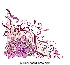 розовый, цветочный, угол, дизайн, элемент