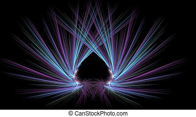 розовый, rays, фуксин, illustration., сердце, looks, абстрактные, фрактальный, cyan, как