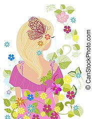 романтический, волосы, дизайн, блондин, девушка, цветы, ваш