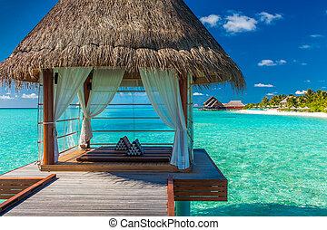 романтический, overwater, роскошный, тропический, лагуна, спа, посмотреть