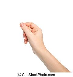 рука, женщина, isolated, объект, держа