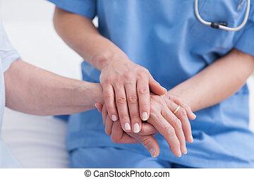 рука, закрыть, медсестра, пациент, вверх, трогательный