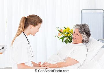 рука, медсестра, сдачи, капельный