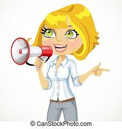 рука, направление, девушка, важный, ее, shows, talking, милый, что нибудь, мегафон