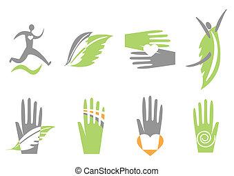 рука, сердце, human., вектор, icons