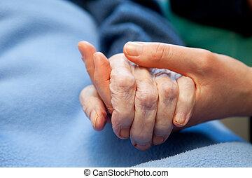 рука, старый, пожилой, забота