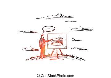 рука, coaching, vector., concept., вничью, isolated