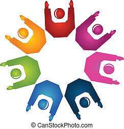 руки, вверх, командная работа, логотип, вектор