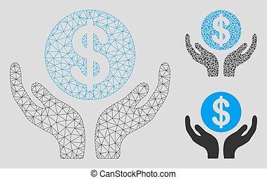 руки, вектор, поддержание, треугольник, модель, 2d, меш, значок, финансовый, мозаика