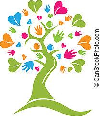 руки, дерево, вектор, figures, hearts, логотип, значок