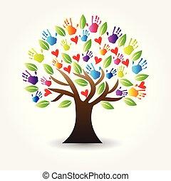 руки, дерево, вектор, hearts, логотип, значок