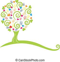 руки, дерево, логотип, hearts, зеленый
