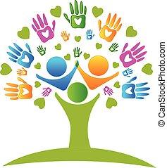 руки, дерево, логотип, hearts, figures