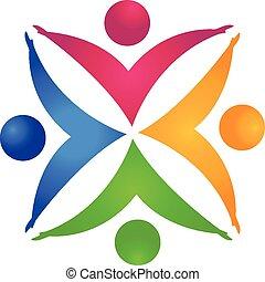 руки, держа, люди, командная работа, логотип