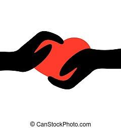 руки, держа, heart., два