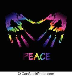 """руки, люблю, делать, мир, вектор, два, illustration., """"graffiti"""""""