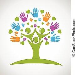 руки, люди, дерево, логотип, hearts