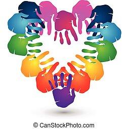руки, сердце, командная работа, логотип, форма