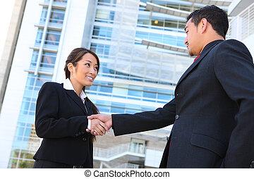рукопожатие, бизнес, команда