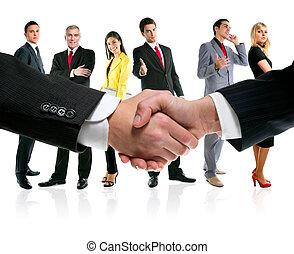 рукопожатие, команда, компания, бизнес, люди