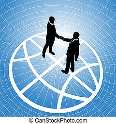 рукопожатие, люди, земной шар, бизнес, глобальный, соглашение