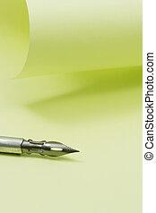 ручка, бумага, фонтан