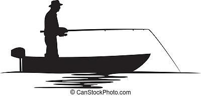 рыбак, силуэт, лодка