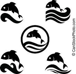 рыба, вектор, иллюстрация