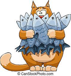 рыба, кот
