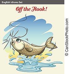 рыба, пойманный, получение