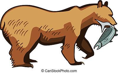 рыба, привлекательный, медведь