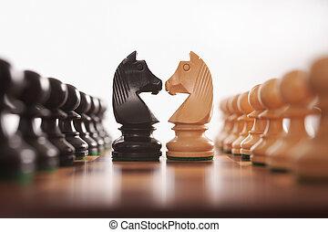 рыцарь, rows, шахматы, два, pawns, вызов, центр
