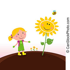 садовник, садоводство, ребенок, весна, :