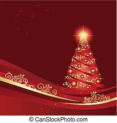 сад, дерево, пылающий, рождество, красный, зима