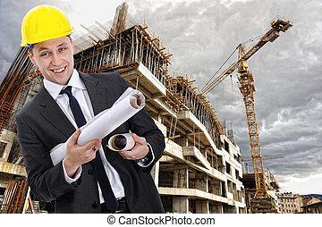 сайт, строительство, инженер, строитель, план