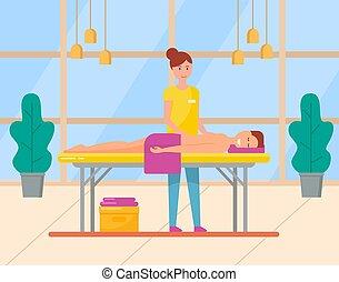 салон, женщина, массажистка, назад, спа, массаж
