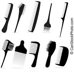 салон, красота, коллекция, волосы, вектор, цирюльник, иллюстрация, расческа, или