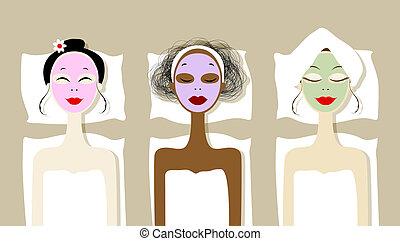 салон, маска, косметический, симпатичная, faces, спа, женщины