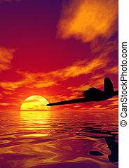 самолет, закат солнца
