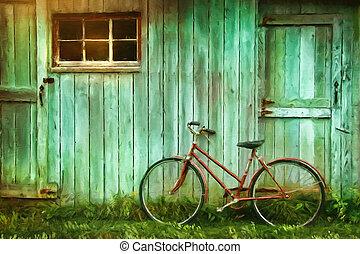 сарай, картина, цифровой, старый, против, велосипед