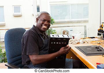 сборка, оборудование, африканец, электронный, человек