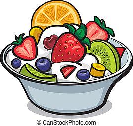 свежий, фрукты, салат