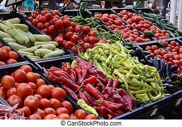 свежий, vegetables, органический, рынок, farmers