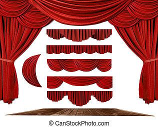своя, театр, создайте, драпировка, задний план, ваш, elements, сцена
