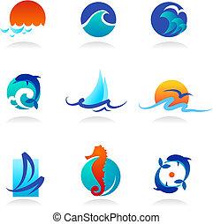 связанный, icons, море, коллекция