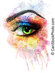 сделал, глаз, splashes, красочный