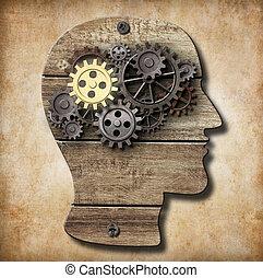 сделал, золото, металл, один, головной мозг, ржавый, gears, модель