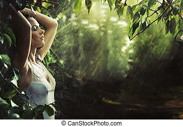 сексуальный, брюнетка, adorable, лес, дождь