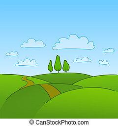 сельская местность, зеленый, trees