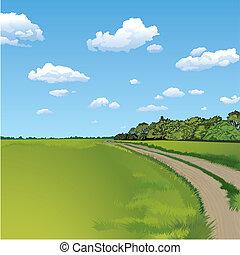 сельская местность, сельский, место действия, дорога